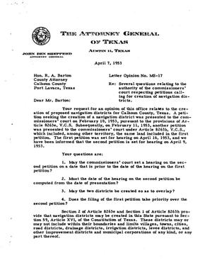 Primary view of object titled 'Texas Attorney General Opinion: MS-17'.