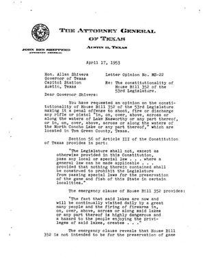 Primary view of object titled 'Texas Attorney General Opinion: MS-22'.