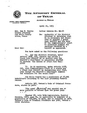 Primary view of object titled 'Texas Attorney General Opinion: MS-24'.
