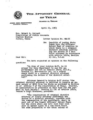 Primary view of object titled 'Texas Attorney General Opinion: MS-26'.