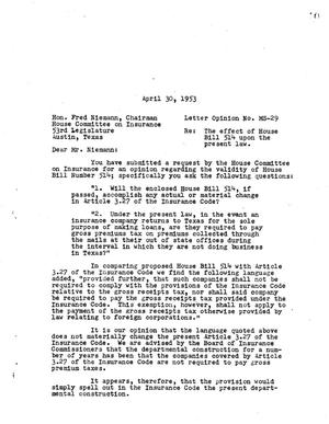 Primary view of object titled 'Texas Attorney General Opinion: MS-29'.