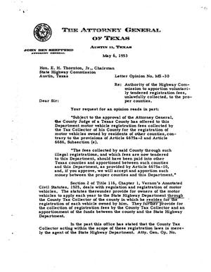 Primary view of object titled 'Texas Attorney General Opinion: MS-30'.