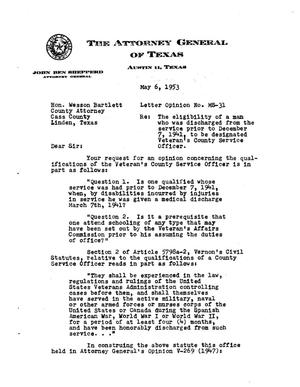 Primary view of object titled 'Texas Attorney General Opinion: MS-31'.