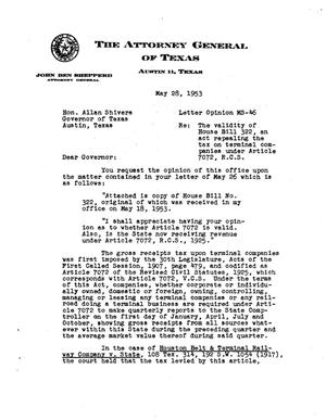 Primary view of object titled 'Texas Attorney General Opinion: MS-46'.