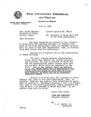 Primary view of object titled 'Texas Attorney General Opinion: MS-52'.