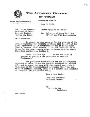 Primary view of object titled 'Texas Attorney General Opinion: MS-54'.