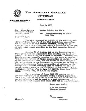 Primary view of object titled 'Texas Attorney General Opinion: MS-56'.