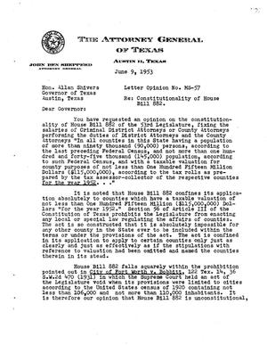 Primary view of object titled 'Texas Attorney General Opinion: MS-57'.