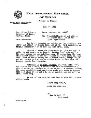 Primary view of object titled 'Texas Attorney General Opinion: MS-58'.