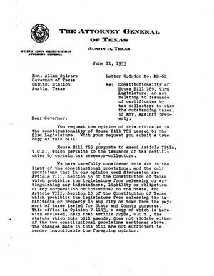 Primary view of object titled 'Texas Attorney General Opinion: MS-62'.