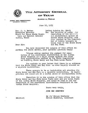 Primary view of object titled 'Texas Attorney General Opinion: MS-63'.