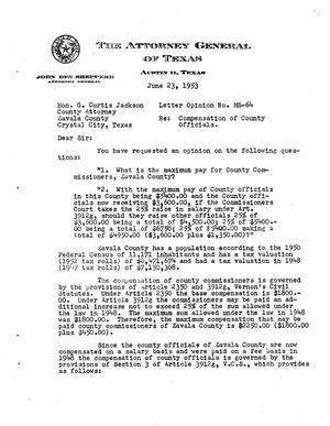 Primary view of object titled 'Texas Attorney General Opinion: MS-64'.
