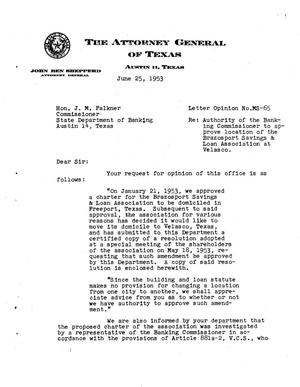 Primary view of object titled 'Texas Attorney General Opinion: MS-65'.