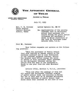 Primary view of object titled 'Texas Attorney General Opinion: MS-72'.