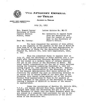 Primary view of object titled 'Texas Attorney General Opinion: MS-76'.