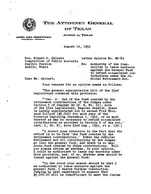 Primary view of object titled 'Texas Attorney General Opinion: MS-82'.