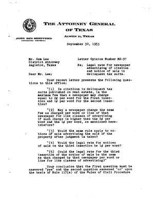 Primary view of object titled 'Texas Attorney General Opinion: MS-97'.
