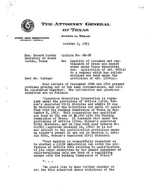 Primary view of object titled 'Texas Attorney General Opinion: MS-98'.