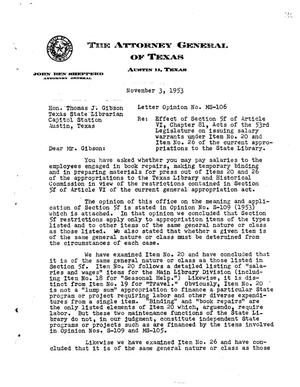 Primary view of object titled 'Texas Attorney General Opinion: MS-106'.