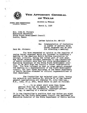 Primary view of object titled 'Texas Attorney General Opinion: MS-119'.