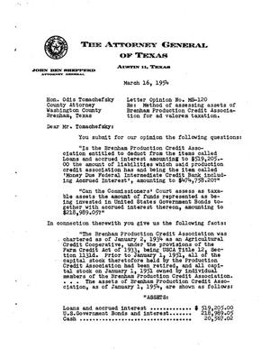 Primary view of object titled 'Texas Attorney General Opinion: MS-120'.