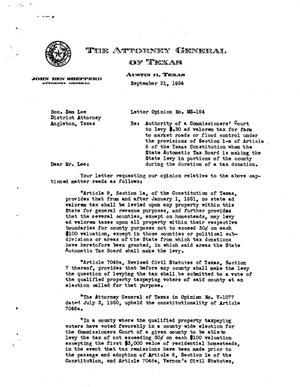 Primary view of object titled 'Texas Attorney General Opinion: MS-154'.