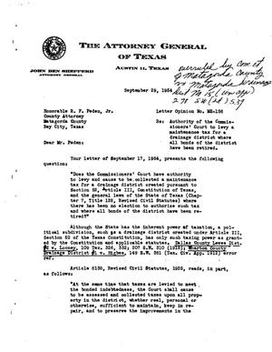 Primary view of object titled 'Texas Attorney General Opinion: MS-156'.