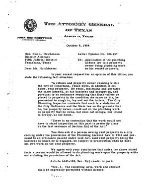 Primary view of object titled 'Texas Attorney General Opinion: MS-157'.