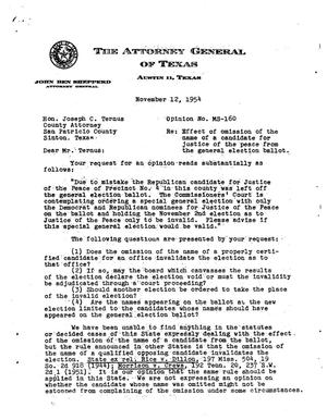 Primary view of object titled 'Texas Attorney General Opinion: MS-160'.