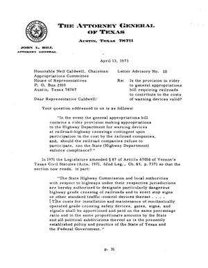 Primary view of Texas Attorney General Opinion: LA-10
