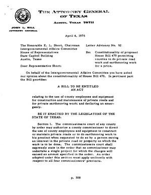 Primary view of object titled 'Texas Attorney General Opinion: LA-92'.