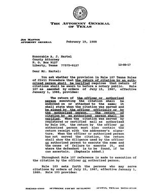 Primary view of object titled 'Texas Attorney General Opinion: LO88-17'.