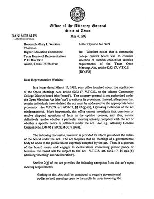 Primary view of Texas Attorney General Opinion: LO92-009