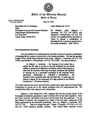 Primary view of object titled 'Texas Attorney General Opinion: LO94-047'.