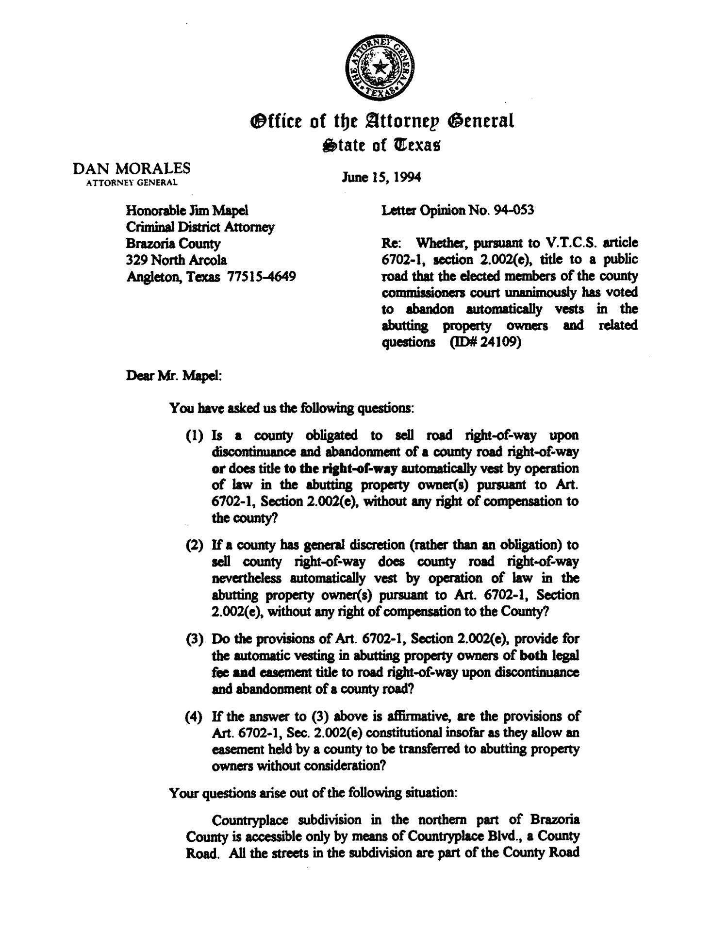 Texas attorney general opinion lo94 053 page 1 of 6 the portal texas attorney general opinion lo94 053 page 1 of 6 the portal to texas history altavistaventures Choice Image