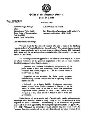 Primary view of object titled 'Texas Attorney General Opinion: LO95-008'.