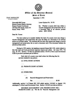 Primary view of object titled 'Texas Attorney General Opinion: LO93-078'.