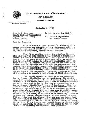 Primary view of object titled 'Texas Attorney General Opinion: MS-233'.