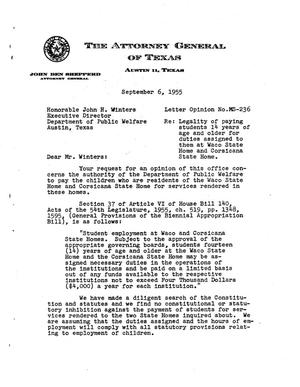 Primary view of object titled 'Texas Attorney General Opinion: MS-236'.