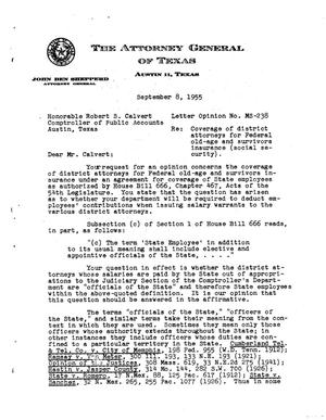 Primary view of object titled 'Texas Attorney General Opinion: MS-238'.