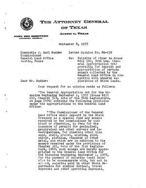 Primary view of object titled 'Texas Attorney General Opinion: MS-239'.