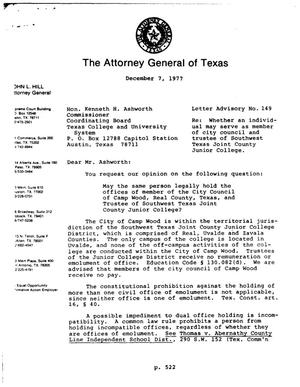 Primary view of object titled 'Texas Attorney General Opinion: LA-149'.