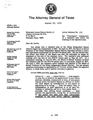 Primary view of object titled 'Texas Attorney General Opinion: LA-151'.