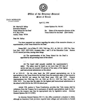 Primary view of object titled 'Texas Attorney General Opinion: LO96-041'.
