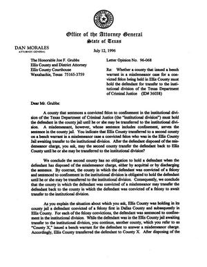 Primary view of object titled 'Texas Attorney General Opinion: LO96-068'.