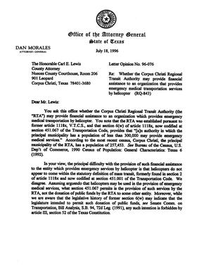 Primary view of object titled 'Texas Attorney General Opinion: LO96-076'.