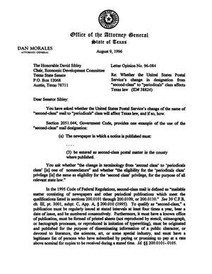 Primary view of object titled 'Texas Attorney General Opinion: LO96-084'.