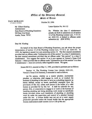 Primary view of object titled 'Texas Attorney General Opinion: LO96-112'.