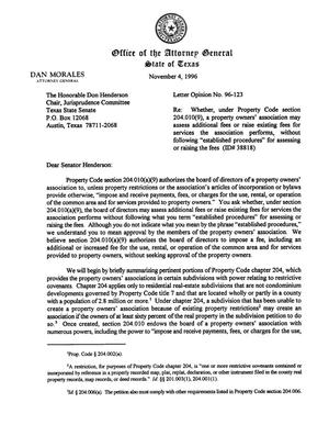 Primary view of object titled 'Texas Attorney General Opinion: LO96-123'.