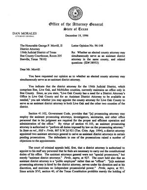 Primary view of object titled 'Texas Attorney General Opinion: LO96-148'.